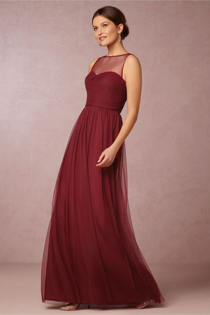 burgundy bridesmaid dress with illusion neckline