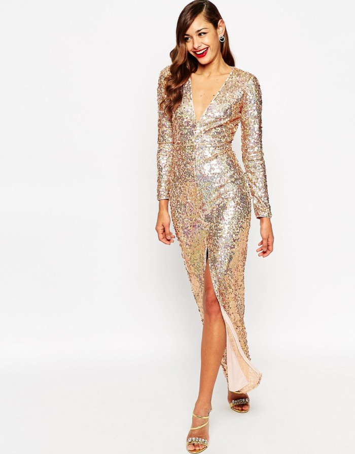 Gold sequin gown with long sleeves