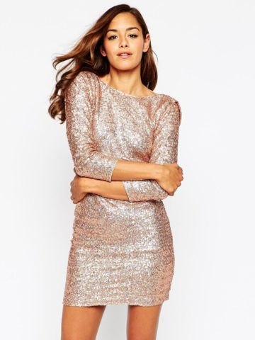 Gold sequin short dress | ASOS