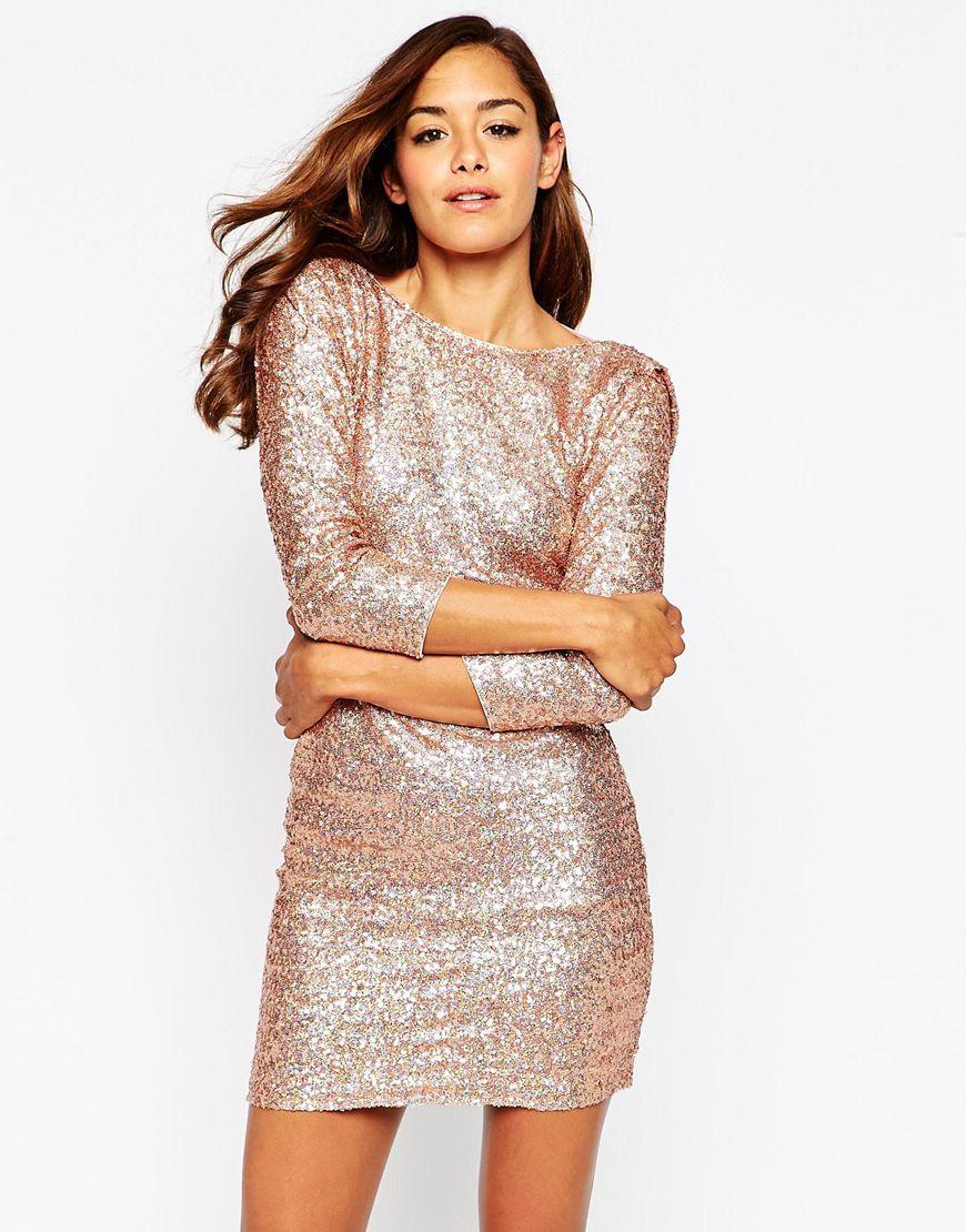 Gold sequin short dress | ASOS