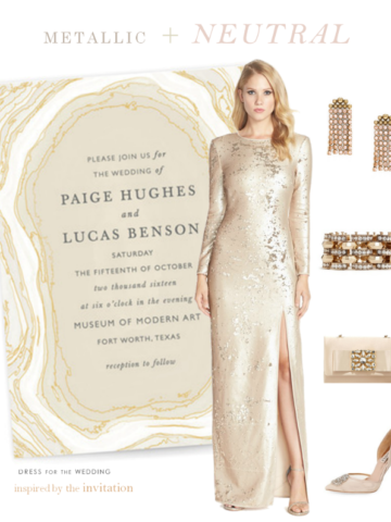 Metallic and neutral wedding attire inspired by the wedding invitation