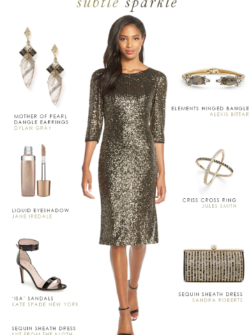 Sequin cocktail dress for a winter wedding or holiday party