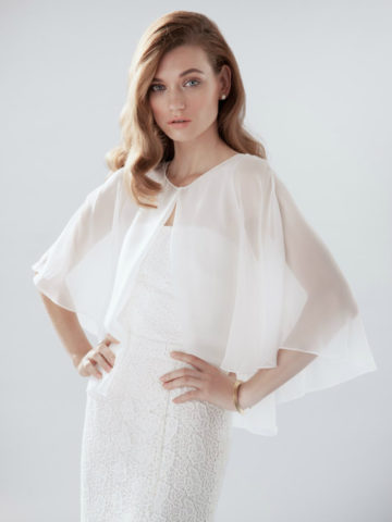 Bridal cape, bustier, and skirt from Aideux