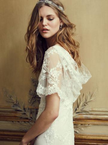 Lace flutter sleeve wedding dress