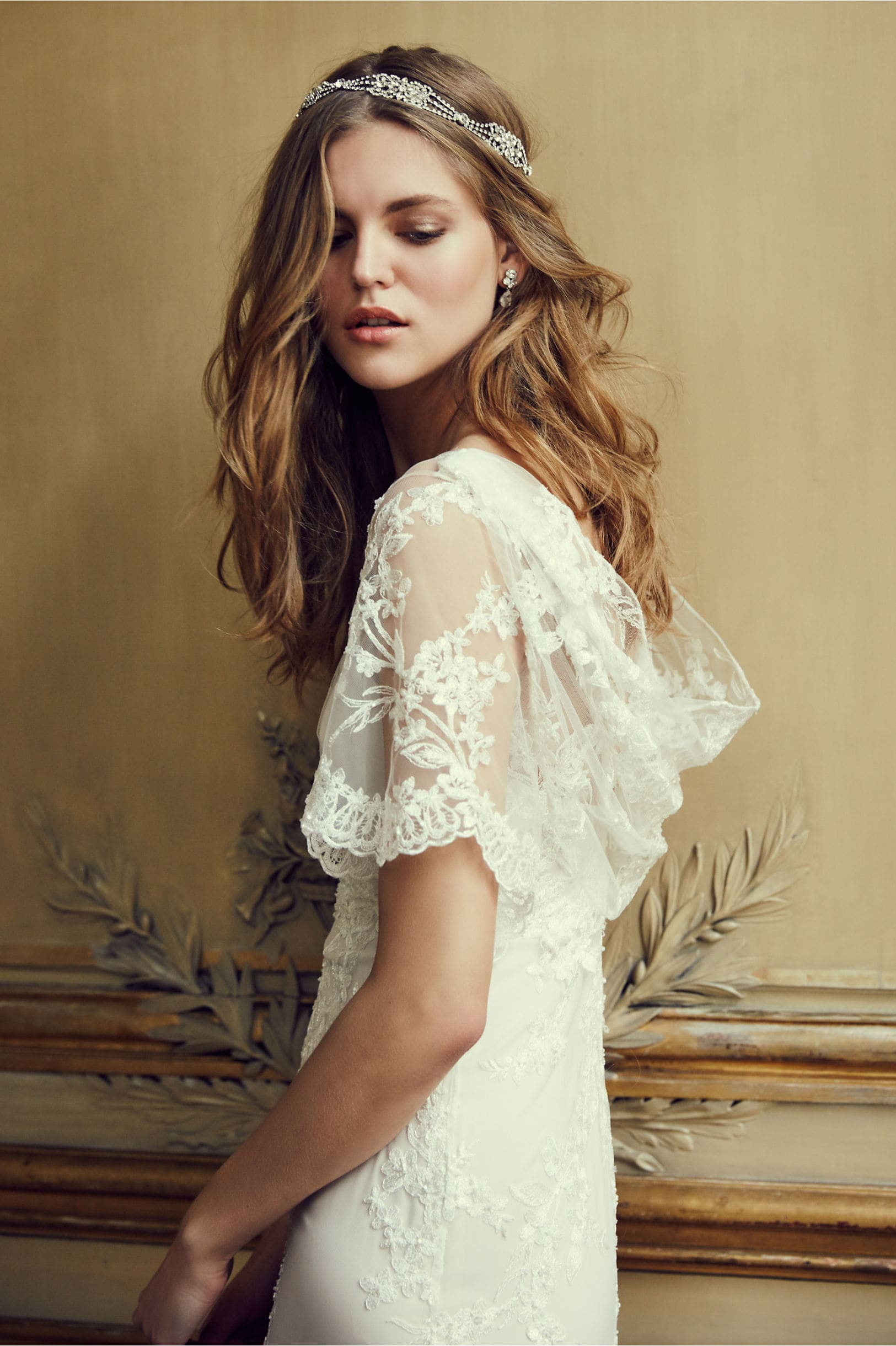 Lace flutter sleeve wedding dress