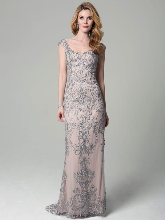 Embellished gray gown with cap sleeves for mother of the groom or mother of the bride