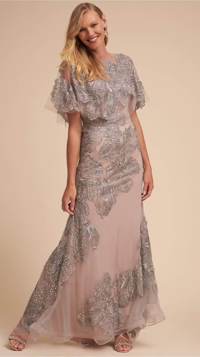 Flutter Sleeve Gray and Silver Gown for Mother of the Bride