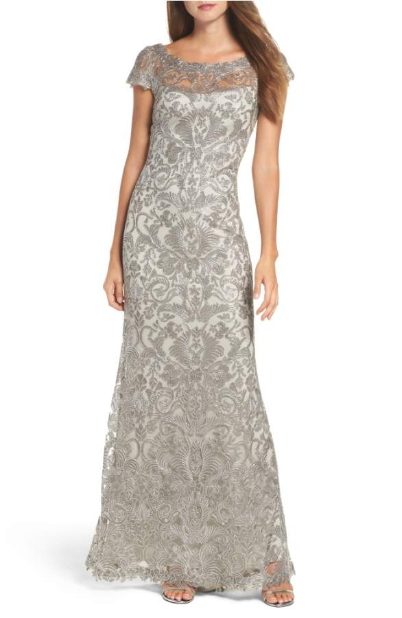 Gray Illusion Neckline Gown for Mother of the Bride