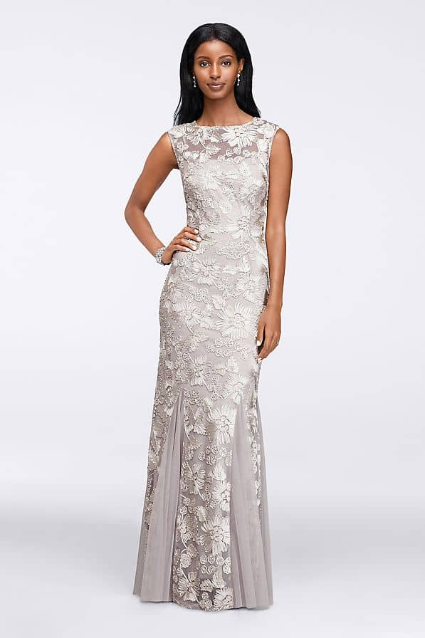 Pale Gray Lace Gown with Cap Sleeves for Mother of the Bride