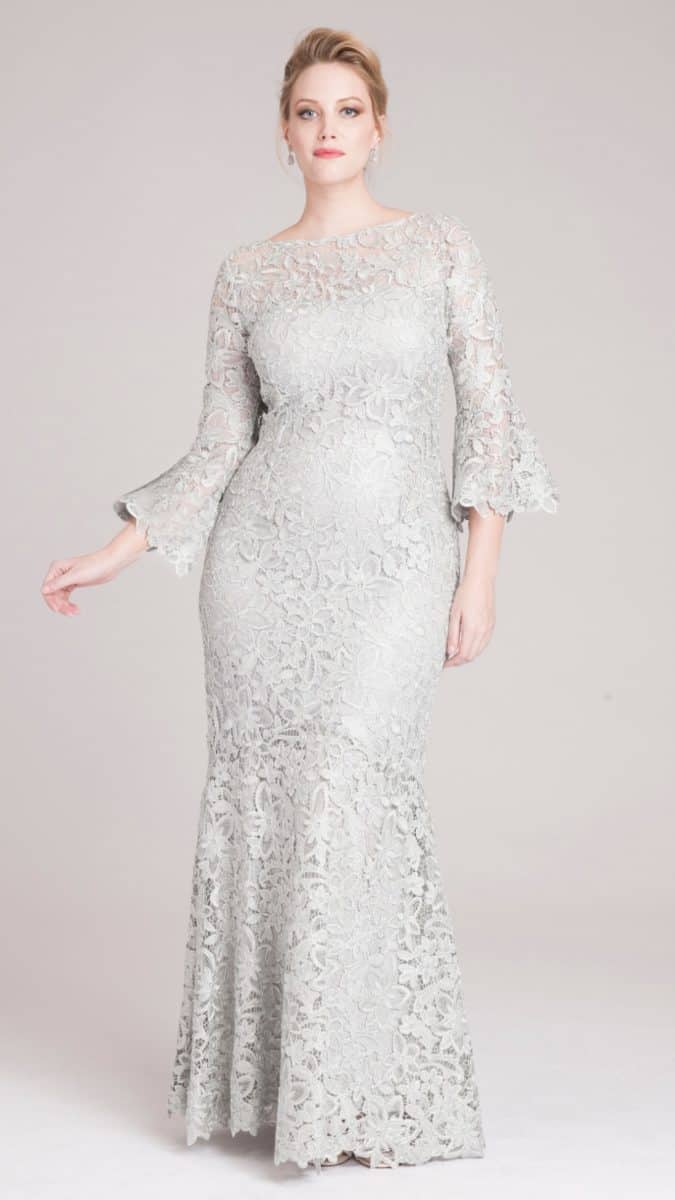 Silver Lace Gown with Long Flared Sleeves by Teri Jon