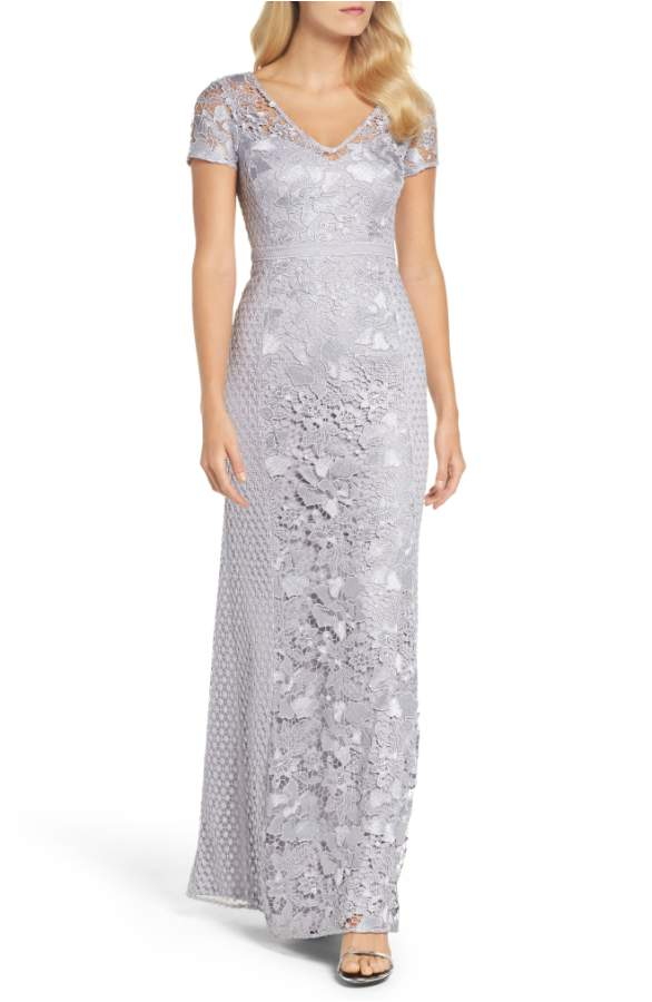 Silver Lace Gown with Short Sleeves for Mother of the Bride