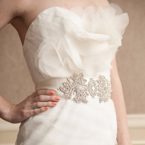 Crystal bridal sash for rent from Happily Ever Borrowed