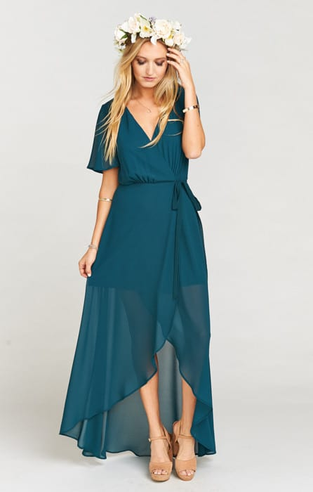 dark turquoise maxi wrap dress