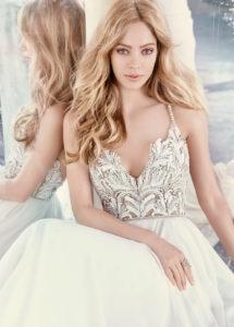 Beaded bodice wedding gown