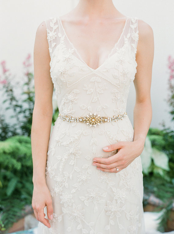 Gold and crystal bridal sash | Hushed Commotion on Etsy | Photo by Lindsay Madden