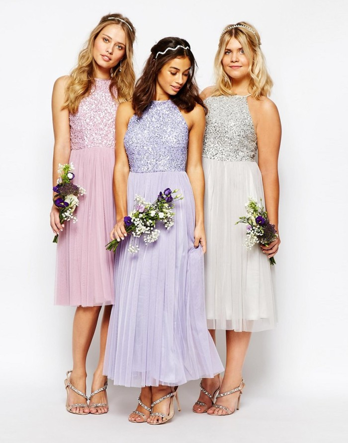 Sequin top bridesmaid dresses with tulle skirts| Found at ASOS
