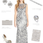 Silver lace dress for mother of the bride
