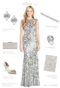 Silver Lace Gown for the Mother of the Bride