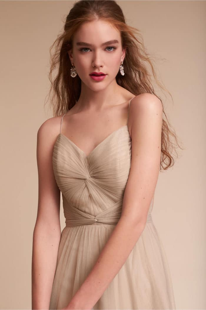 Neutral Tulle Bridesmaid Dress with Straps