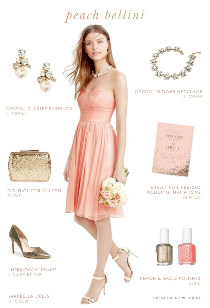 Strapless short peach bridesmaid dress