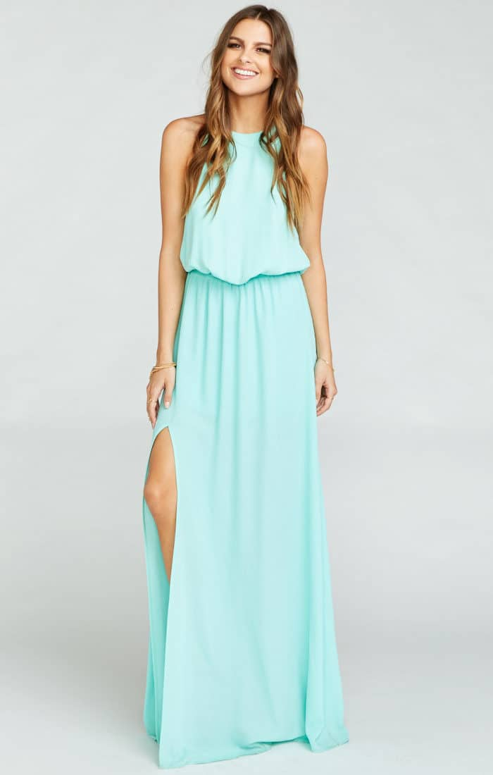 seaglass bridesmaid dresses maxi dress