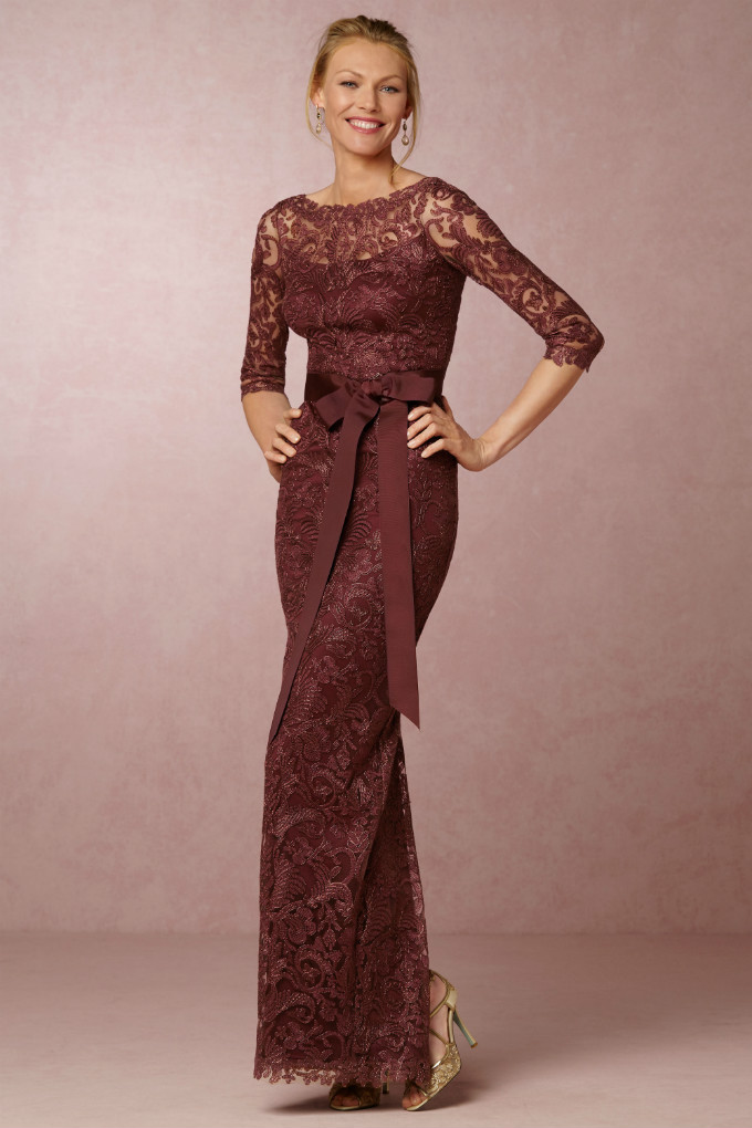 Long sleeve burgundy gown | Darby Dress from BHLDN