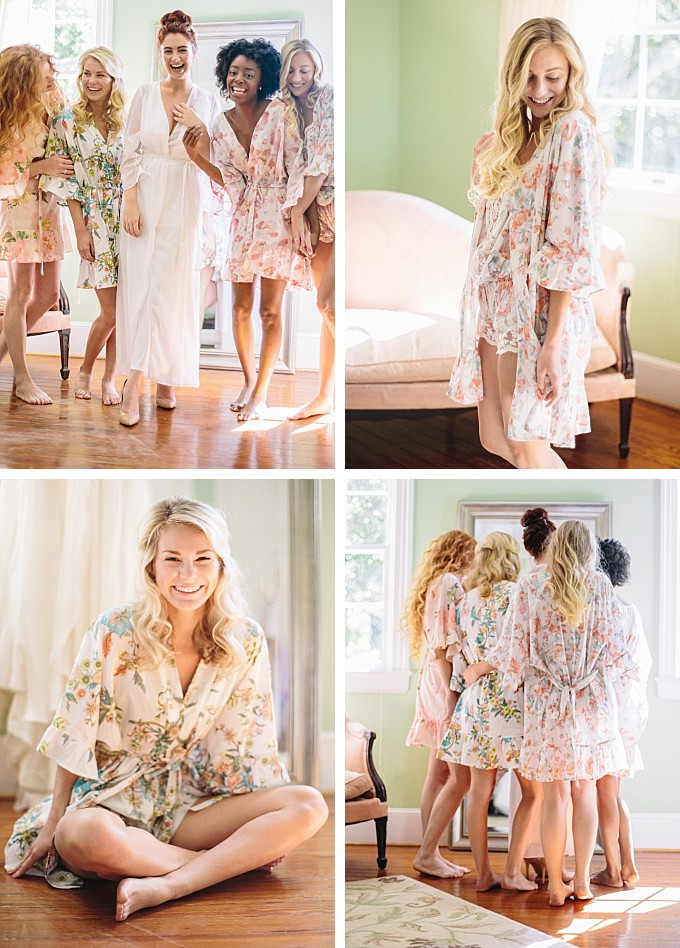 Bride and bridesmaids in floral robes | Plum Pretty Sugar | Photography by Kelly Sauer
