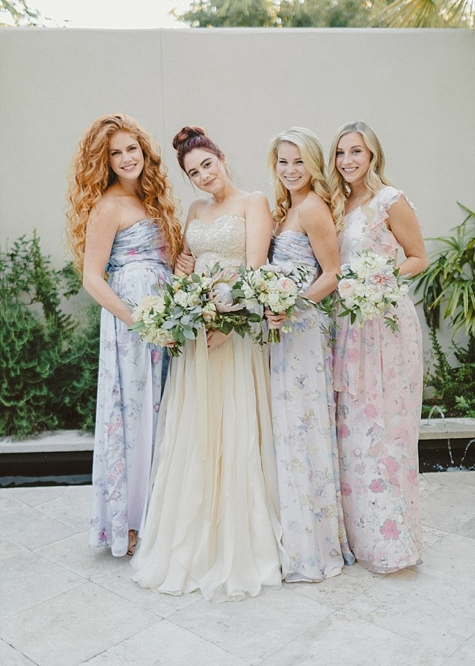Mix and Match Floral Bridesmaids by PPS Couture | Kelly Sauer Photography