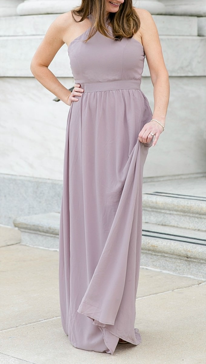 Muted taupe and lavender chiffon gown from ModCloth | Formal wedding look | Photography by Brittney Kreider