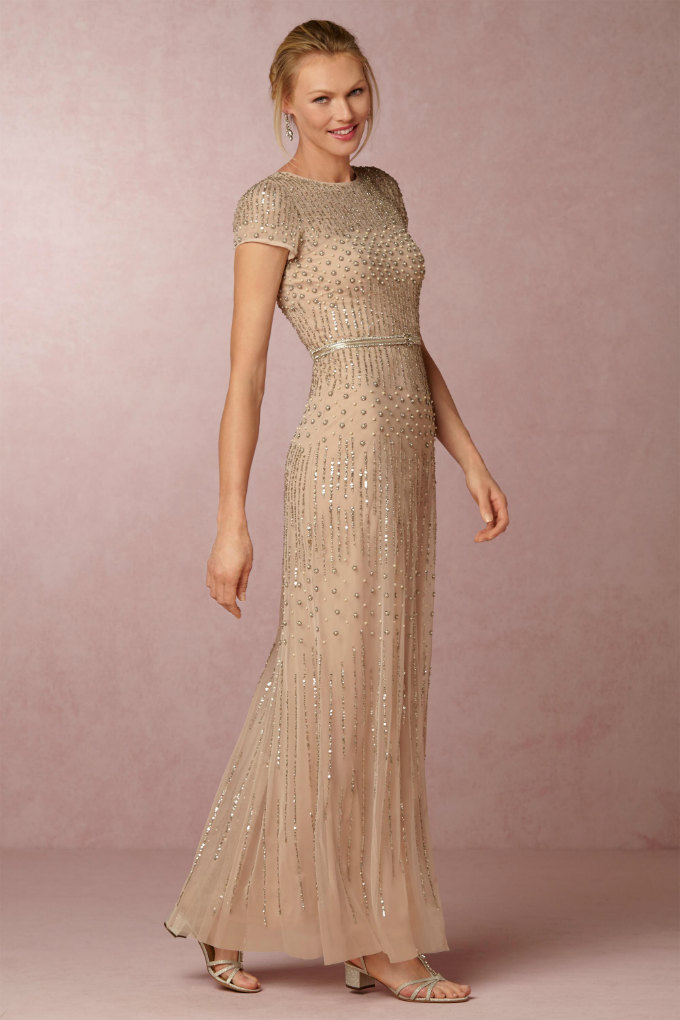 Gold beaded Mother of the Bride or Groom Gown | Berkley Dress from BHLDN