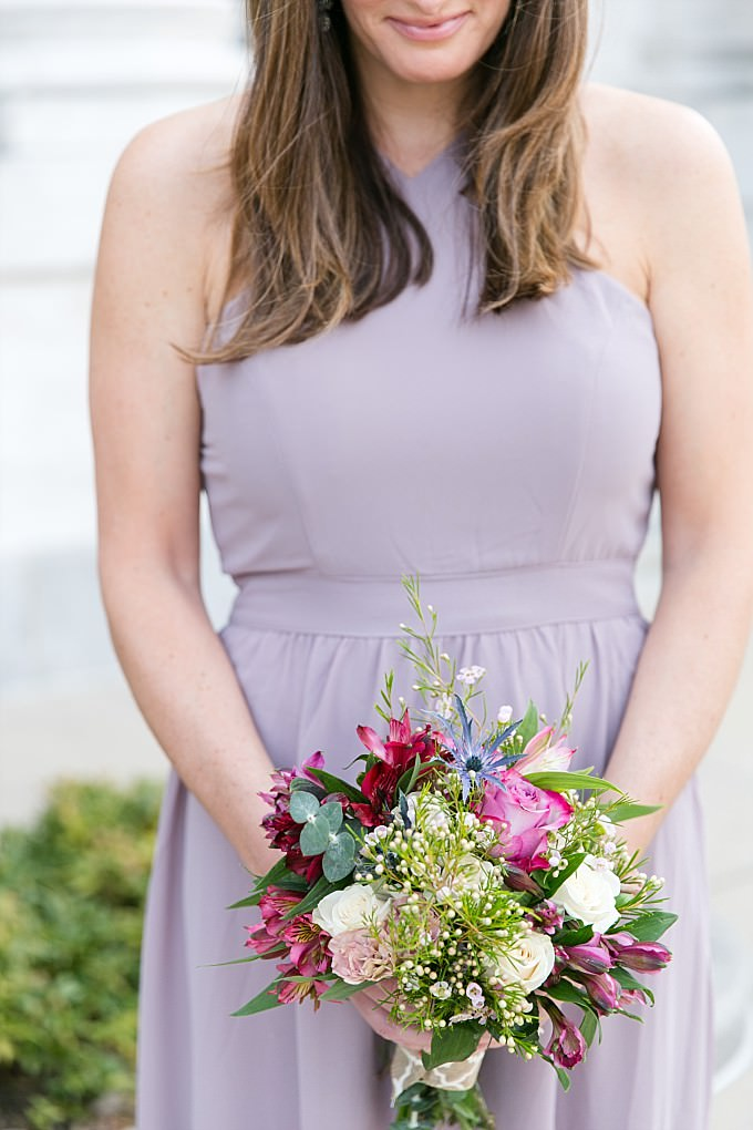 Neutral lavender/taupe gown for a bridesmaid from ModCloth | Photography by Brittney Kreider