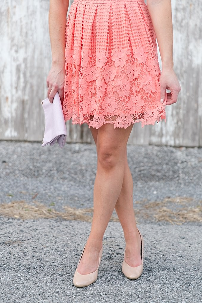 Coral lace dress from ModCloth | Brittney Kreider Photography