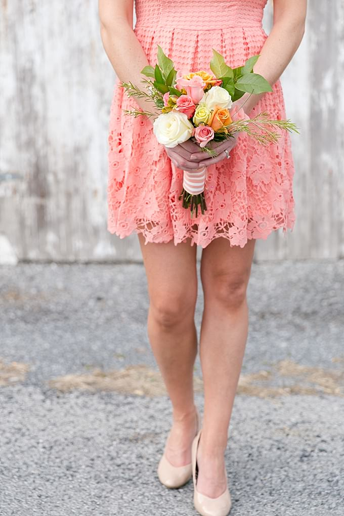 Coral lace bridesmaid dress from ModCloth | Cute earrings to wear to a wedding | Photo by Brittney Kreider