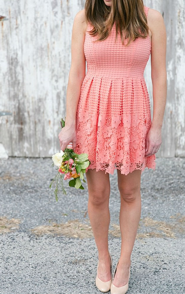 Short coral bridesmaid dresses | Bridesmaid dress from ModCloth |Photo by Brittney Kreider