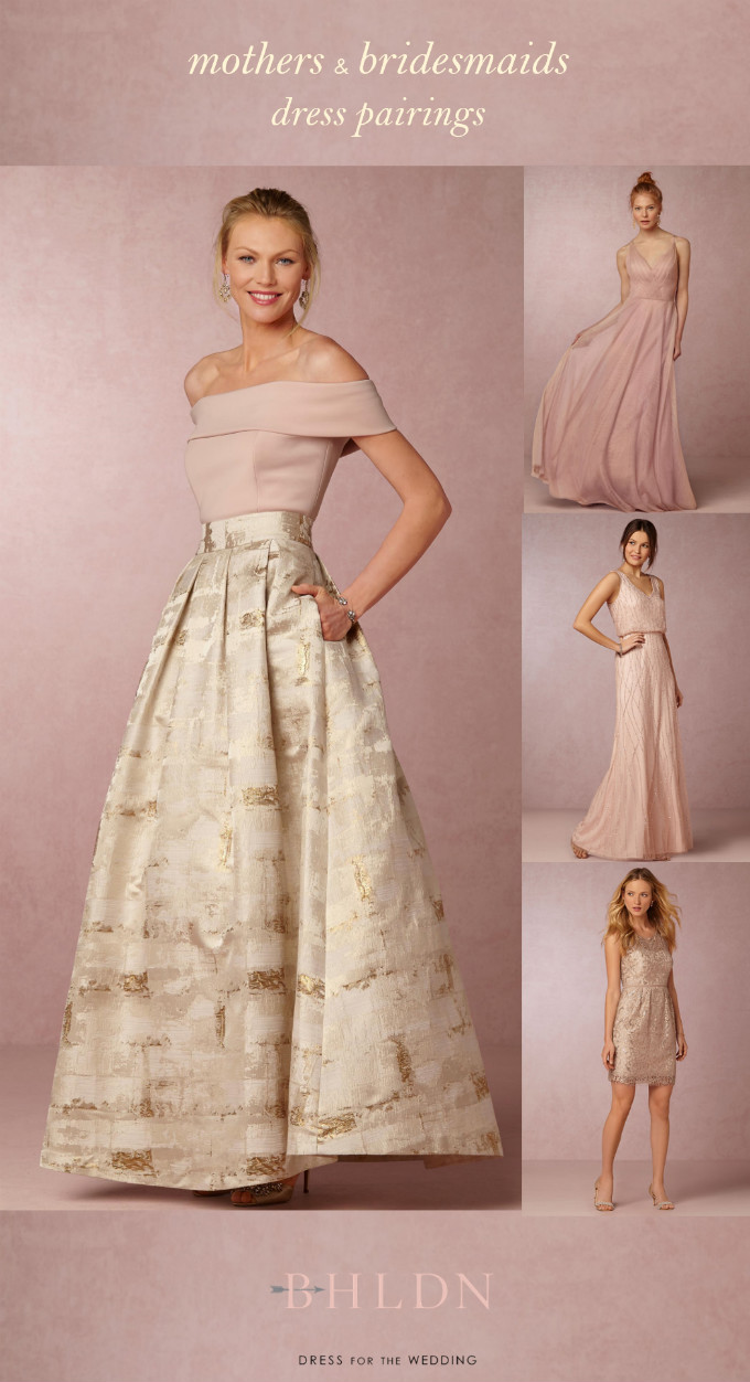 Mother of the Bride Top and Skirt | BHLDN | Coordinates with Pink and Neutral Bridesmaid Dresses