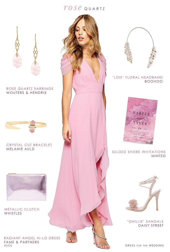 Long pink bridesmaid dress | Rose Quartz Bridesmaid Dress