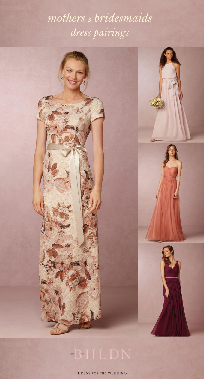 Printed mother of the bride dress | BHLDN | Coordinates with pink, coral, or burgundy bridesmaid dresses