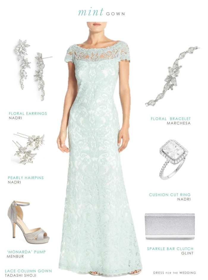 Mint lace gown for a wedding or mother of the bride