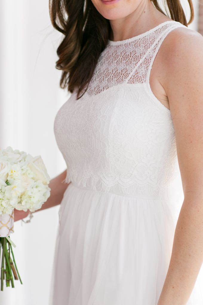 Affordable wedding dress with a lace top | ModCloth's new wedding collection | Photo by Brittney Kreider