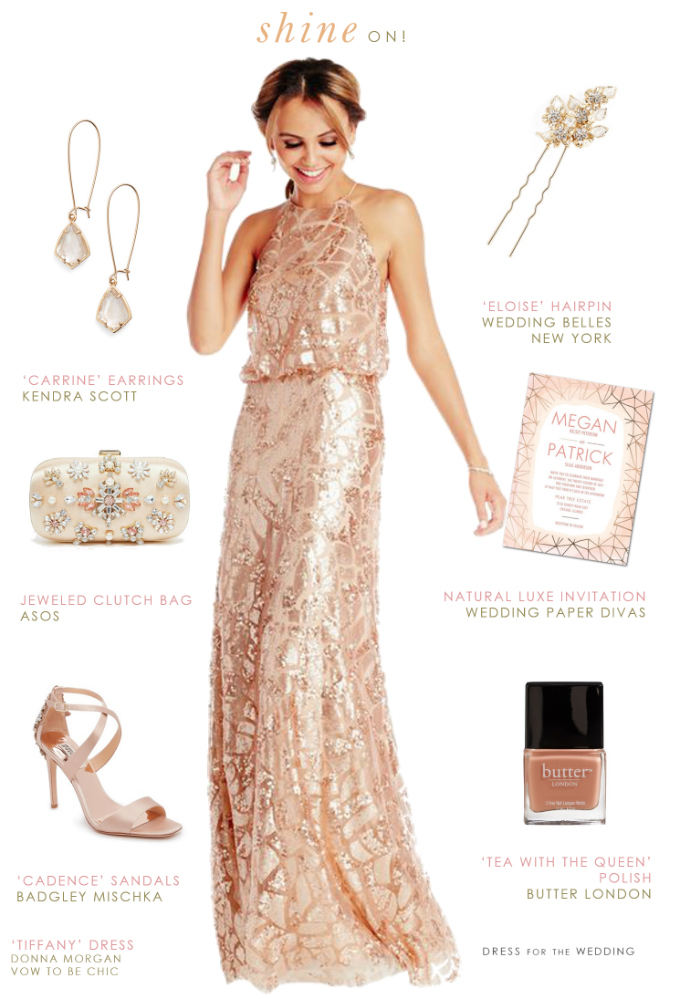 Peach Sequin Gown | Rent a Sequin Bridesmaid Dress