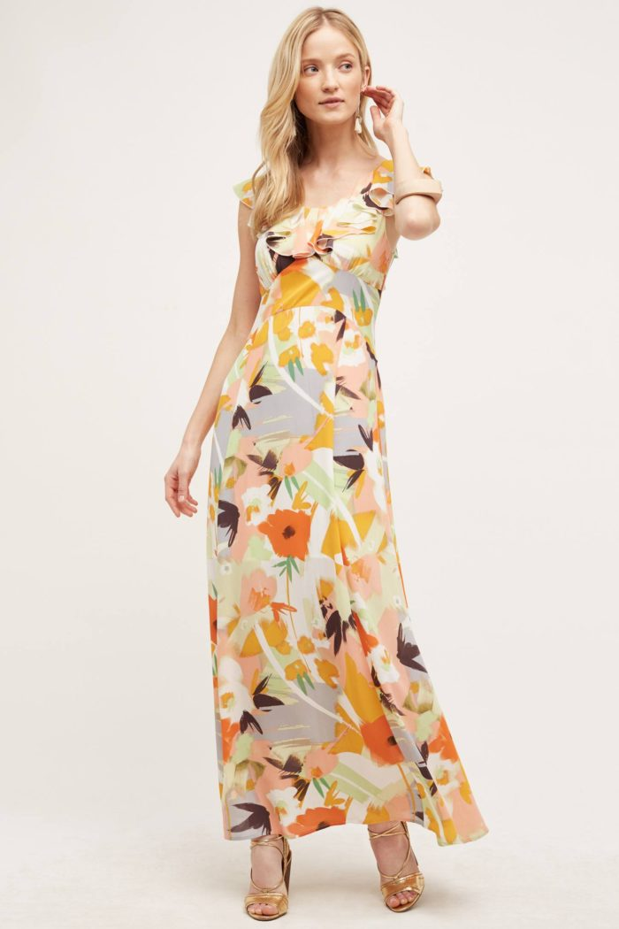 Colorful printed maxi dress for a wedding guest