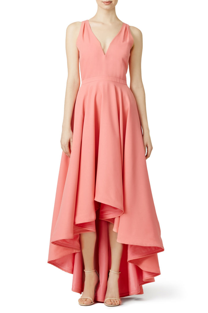 Coral hi-low dress | Rent the Runway
