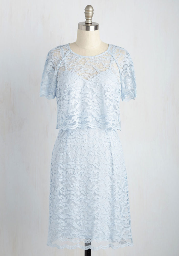Light blue popver top lace dress | Cute lace dress for 2016 wedding guests in May