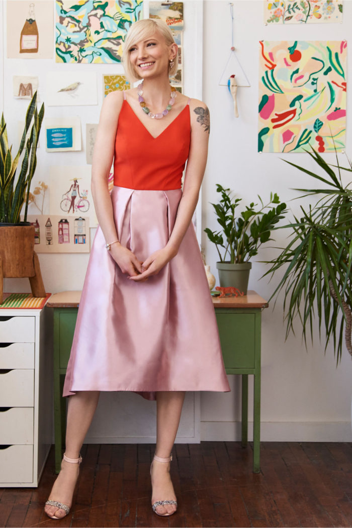 Color block dress in pink and orange | Wedding guest and party dresses for spring
