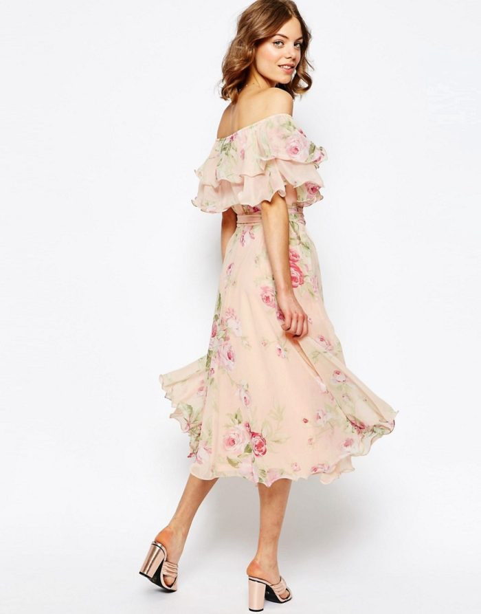 Floral off the shoulder dress |Spring dresses to wear to weddings