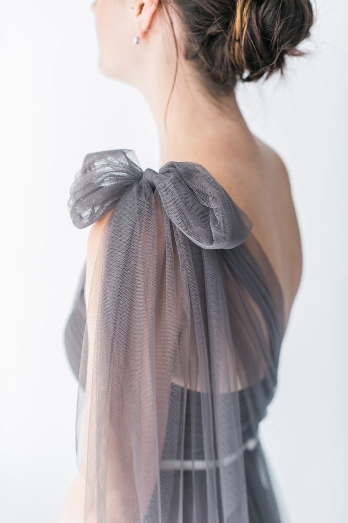 Gray tulle bridesmaid dress Aisle Society | Photography by Alexis June Weddings