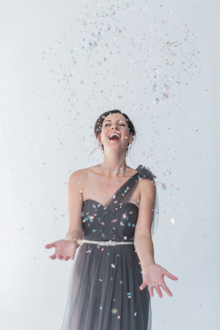 Confetti toss by bridesmaids Aisle Society | Photography by Alexis June Weddings