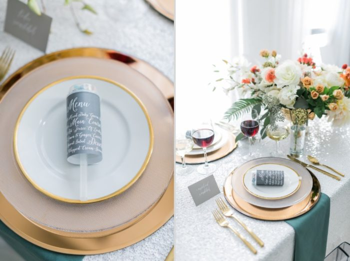 Place settings at the Aisle Society Brand | Photographer: Alexis June Weddings