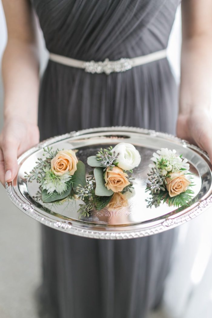 Boutonnieres and bridesmaids | Find out about Aisle Society! | Alexis June Weddings