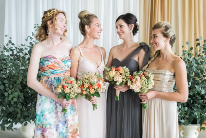 Bridesmaid dresses in mismatched prints for Aisle Society | Photography ©AlexisJuneWeddings
